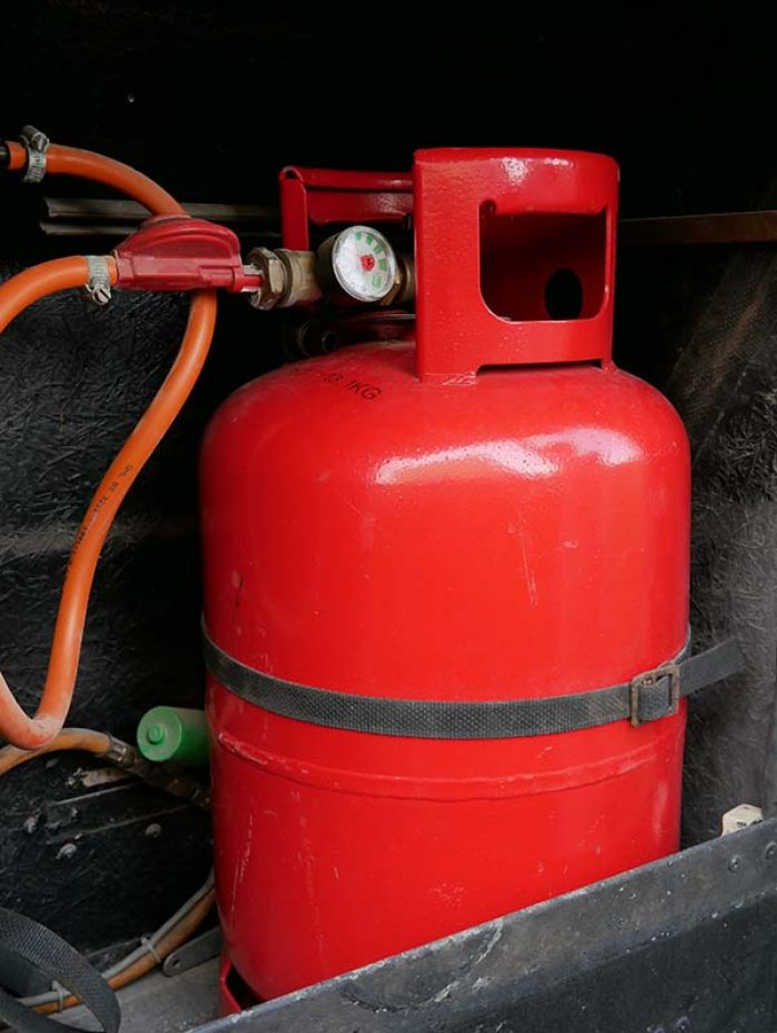 Propane gas bottle red