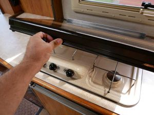 Glass hob cover in Hymer