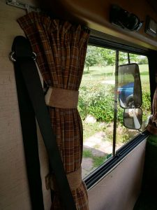 Curtains at the front of the motorhome