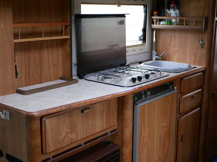 Hymer B644 motorhome kitchen area