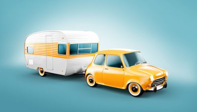 Retro car with white caravan, Rv trailer